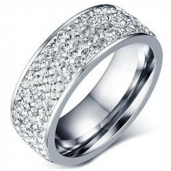 AL0041 BOBIJOO Jewelry Alliance Ring Triple Row Rhinestone Stainless Steel Silver