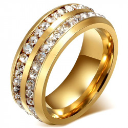 AL0044 BOBIJOO Jewelry Alliance Ring, Gold Double Rhinestone Stainless Steel