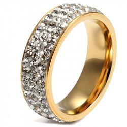 AL0045 BOBIJOO Jewelry Alliance Gold End Triple Row Zirconia Stainless Steel