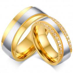 AL0036 BOBIJOO Jewelry Alliance Couple, Gold, Zirconium Strass
