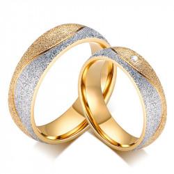 AL0037 BOBIJOO Jewelry Alliance Bague Anneau Doré à l'Or Fin Brillant Couple