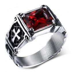 Bague Cabochon Chevalière Croix Royaliste Malte Rouge bobijoo