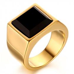 BA0052 BOBIJOO Jewelry Bague Cabochon Chevalière Doré à l'Or Fin