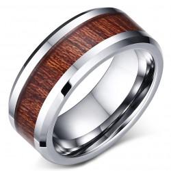 BA0053 BOBIJOO Jewelry Bague Alliance Acier Inoxydable Bois Kao Hawaï
