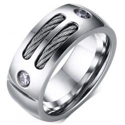 BA0045 BOBIJOO Jewelry Bague Alliance Acier Inoxydable Cable Zirconium