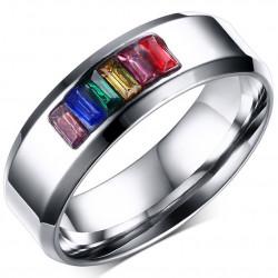 BA0046 BOBIJOO Jewelry Ring Alliance Gay Lesbian rainbow Stainless Steel Rainbow