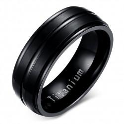 BA0055 BOBIJOO Jewelry Ring Alliance Titanium Engraved Black Matte and Shiny