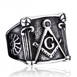 BA0057 BOBIJOO Jewelry Bague Chevalière Masonic Franc Maçon Equerre Compas Soleil Acier Inoxydable