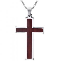 PE0022 BOBIJOO Jewelry Halskette Anhänger Kreuz mit Intarsien aus Holz-Edelstahl