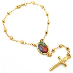 CP0024 BOBIJOO Jewelry Rosary Bracelet, Gold Marie