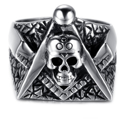 BA0058 BOBIJOO Jewelry Bague Chevalière Tête de Mort Masonic Franc Maçon Equerre Compas