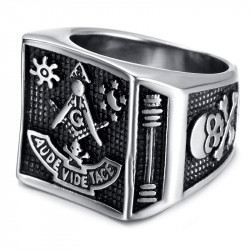 BA0059 BOBIJOO Jewelry Bague Chevalière Aude Vide Tace Tête de Mort Masonic Franc Maçon