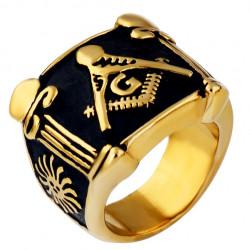 BA0067 BOBIJOO Jewelry Ring Signet Masonic Frank Mason Gold and Black Stainless Steel
