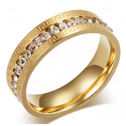 AL0046 BOBIJOO Jewelry Alliance Originale Gravure Bague Strass Doré à l'Or Fin