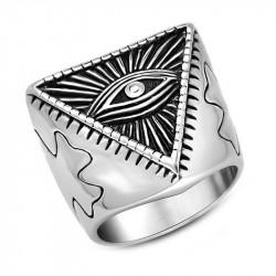 BA0069 BOBIJOO Jewelry Bague Illuminati Pyramide Oeil Acier Inoxydable