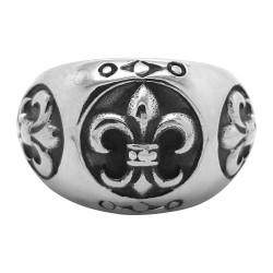 BA0076 BOBIJOO Jewelry Bague Chevalière Fleur de Lys Acier Inoxydable