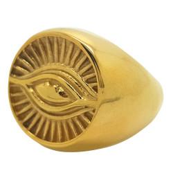 BA0077 BOBIJOO Jewelry Ring Signet Ring Illuminati Eye Golden