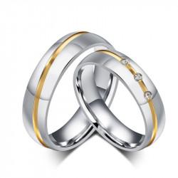 AL0002 BOBIJOO Jewelry Alliance Acier Argenté Strass Fil Boré à l'Or Fin Mixte