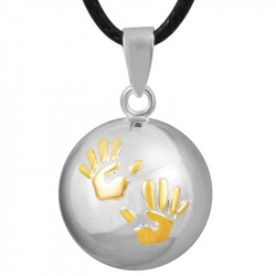 GR0010 BOBIJOO Jewelry Necklace Pendant Bola Musical Pregnancy Hands baby Gold Plated