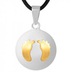 GR0011 BOBIJOO Jewelry Necklace Pendant Bola Musical Pregnancy Feet baby Gold Plated