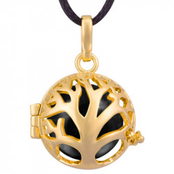 GR0014 BOBIJOO Jewelry Necklace Pendant Bola Cage Musical Tree of Life, Gold