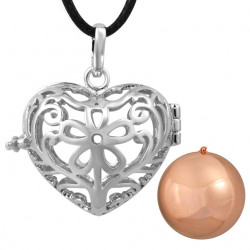 GR0016 BOBIJOO Jewelry Necklace Pendant Bola Cage Musical Heart Silver