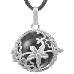 GR0017 BOBIJOO Jewelry Necklace Pendant Bola Cage Musical Flower Silver