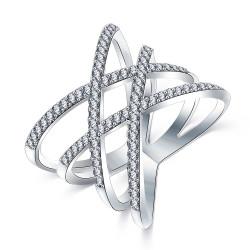 BAF0014 BOBIJOO Jewelry Bague Design Femme 4 Anneaux Strass Argenté