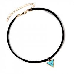 PEF0015 BOBIJOO Jewelry Ras Neck Triangle Blue Marble Golden Leather