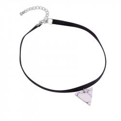 PEF0016 BOBIJOO Jewelry Ras Neck Triangle White Marble Leather