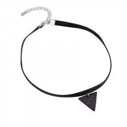 PEF0017 BOBIJOO Jewelry Ras Neck Triangle Black Marble Leather
