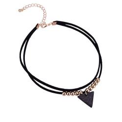 PEF0019 BOBIJOO Jewelry Ras Neck Triangle Black Marble Double Rank and Golden Beads