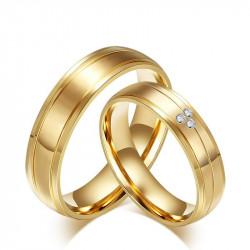 AL0006 BOBIJOO Jewelry Alliance Couple Bague Anneau Doré à l'Or Fin