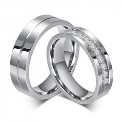 AL0010 BOBIJOO Jewelry Alliance Ring Ring Stainless Steel Rhinestone Couple