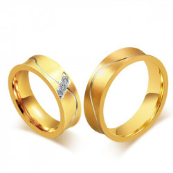 AL0011 BOBIJOO Jewelry Alliance Ring Ring Gold-plated finish, Curved Man Woman