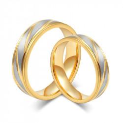 AL0012 BOBIJOO Jewelry Alliance Bague Anneau Doré à l'Or Fin Acier Brossé Couple