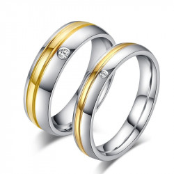 AL0014 BOBIJOO Jewelry Alliance Stainless Steel, Gold Zircon