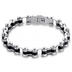 BR0103 BOBIJOO Jewelry Bracelet Biker Chain Motorcycle Steel and Silicone