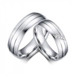 AL0017 BOBIJOO Jewelry Alliance Bague Acier Inoxydable Couple Mixte Zircon