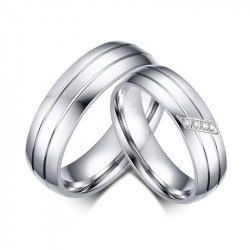 AL0017 BOBIJOO Jewelry Alliance Ring Stainless Steel Couple Mixed Zircon