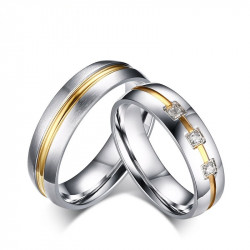 AL0019 BOBIJOO Jewelry Alliance Stainless Steel Ring with Rhinestones, Wire, Gold