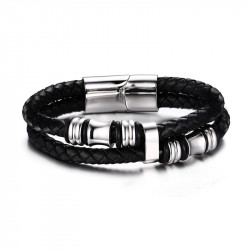BR0105 BOBIJOO Jewelry Bracelet Real Black Leather Stainless Steel charms