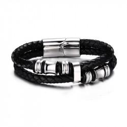 Bracelet Vrai Cuir Noir Acier Inoxydable charms bobijoo