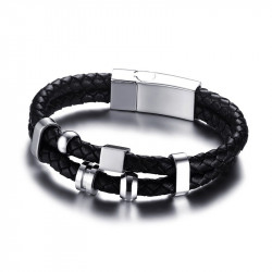 BR0108 BOBIJOO Jewelry Bracelet Real Leather Black Stainless Steel
