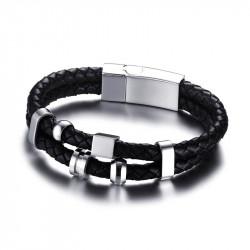 Bracelet Vrai Cuir Noir Acier Inoxydable bobijoo
