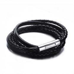 BR0110 BOBIJOO Jewelry Bracelet Real Black Leather Interlaced Stainless Steel