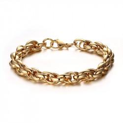 Bracelet Mixte Mailles Entrelacées Acier Doré bobijoo