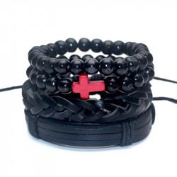 BR0121 BOBIJOO Jewelry Set of 4 Bracelets Black Red Cross