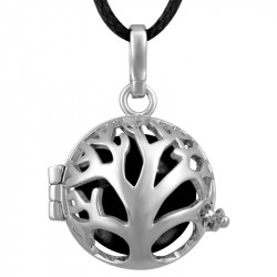 GR0013 BOBIJOO Jewelry Necklace Pendant Bola Cage Musical Tree of Life Silver Black