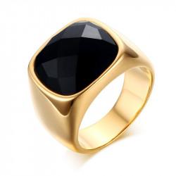 Chevalière Agate Rectangulaire Noire Doré à l'Or Fin bobijoo